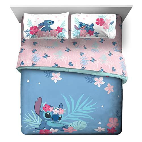 Jay Franco Disney Lilo & Stitch Paradise Dream 7 Piece Queen Bed Set - Includes Reversible Comforter & Sheet Set Bedding - Super Soft Fade Resistant Microfiber (Official Disney Product)