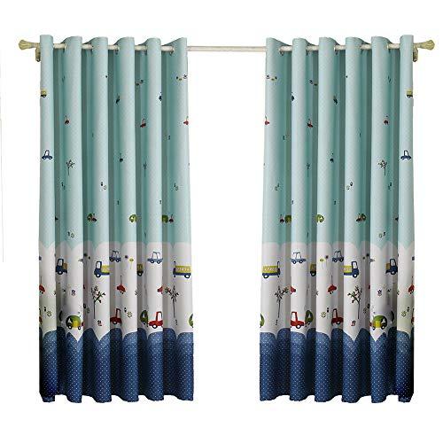 Blackout Fenster Vorhänge Thermische Isolierte Öse Vorhänge Cartoon Auto Drucken Tülle Fenster Vorhang Draps für Schlafzimmer Wohnzimmer Kindergarten 100X200cm