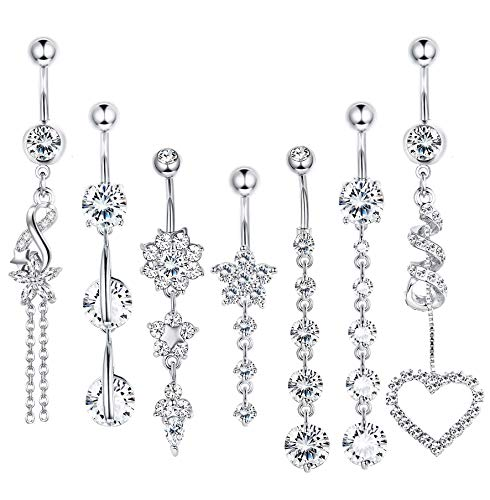 LOLIAS 7 Pcs 14G Dangle Belly Button Rings for Women Girls 316L Surgical Steel Curved Navel Barbell Body Jewelry Piercing,S