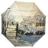 XOSHX Malerei Kunst und Kunst handgemaltes Ölgemälde kreativer Sonnenschirm, Regenschirm, automatischer Dreifachdruck