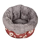 UNSKAM Haustierbett Waschbares Flauschiges Hundebett Drucken Hundebett Katzenbett Sie 3 Farben Optional,rot,M
