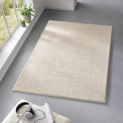 Taracarpet Teppich Kurzflor weicher Designer Uni Bodenbelag Madrid fürs Wohnzimmer, Kinderzimmer, Schlafzimmer und die Küche geeignet Creme Weiss 120x170 cm