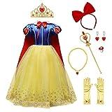 IMEKIS Mädchen Schneewittchen Kostüm Prinzessin Cosplay Verkleiden Geburtstag Festlich Partykleid...