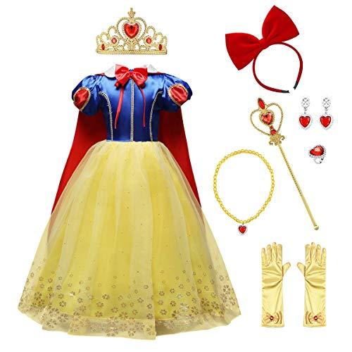 IMEKIS Mädchen Schneewittchen Kostüm Prinzessin Cosplay Verkleiden Geburtstag Festlich Partykleid Pailletten Schneeflocke Weihnachten Karneval Kleid mit Umhang Hochzeit Festzug Outfit Blau 5-6 Jahre