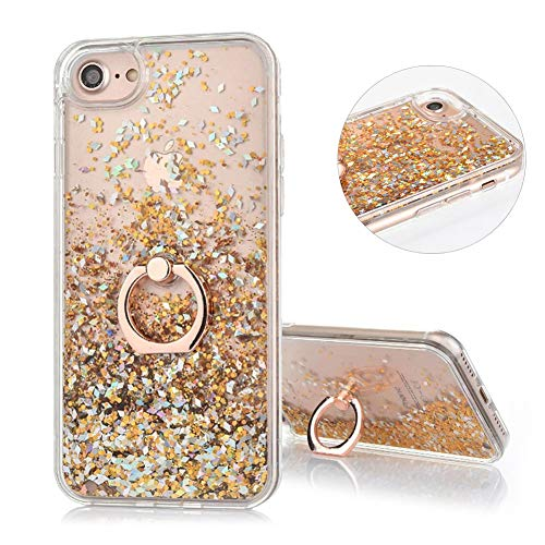 DasKAn Floating Liquid Glitter Case for iPhone 6 Plus 6S Plus with Finger Holder Ring Stand,Bling Sparkle Flowing Sequins Moving Quicksand Clear Back Cover Hard Plastic Protective Phone Case,Gold