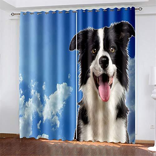 FACWAWF El Aislamiento Térmico con Patrón De Perro Impreso En 3D Se Tuerce Y Gira, Adecuado para Cortinas De Sala De Estar Y Dormitorio 132x160cm(2pcs)