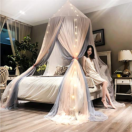 FHQCU Princess Romantic Dome Bed Canopy con luz, Cortina de Cama Decoración del Dormitorio Doble 3 Puertas Mosquitera Colgante,C,2.0m(6.6ft)