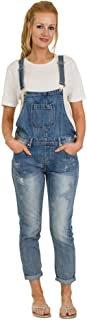 Ladies Distressed Denim Dungarees - Stonewash Three-quarter Bib Overall Reg fit