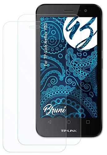 Bruni Schutzfolie kompatibel mit TP-Link Neffos Y50 Folie, glasklare Bildschirmschutzfolie (2X)