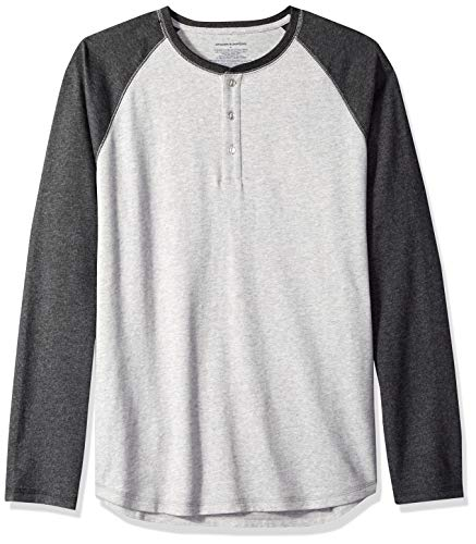 Amazon Essentials, Herren-Henley-Langarmshirt, normale Passform, Grau (Grau (Light Heather Grey/Charcoal Heather)), L