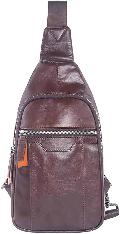 Leder Sling Bag für Männer, Kopfhöreranschluss,Outdoor-Sportrucksack, Bergsteigen, Radfahren, Reisen,braun-M B07QK9J9TZ