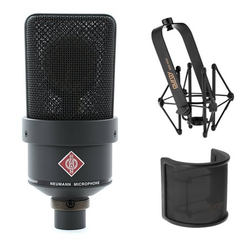 Neumann TLM 103 Large Diaphragm Condenser Microphone (Black) With Suspension Shockmount & Pop Filter