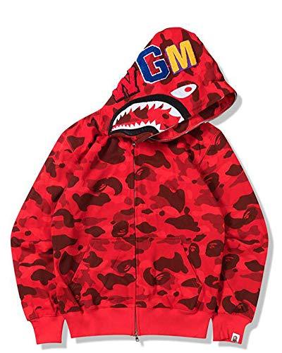 Felpa unisex con cappuccio Bape Shark Head Camo Zip Pullover Slim Fit con cappuccio, regalo per uomo e donna, rosso, S