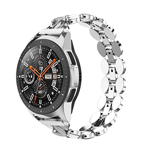 Ownaco Kompatibel mit Samsung Galaxy Watch Active 40mm Armband Frauen 20 mm Metallarmband Ersatzband Zubehör für Gear S2 Classic(Silber)