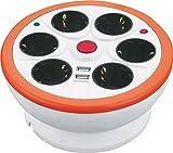 Garza 420011 Base múltiple de 6 tomas con interruptor, USB y guardacable (1,4 metros), Blanco y Rojo