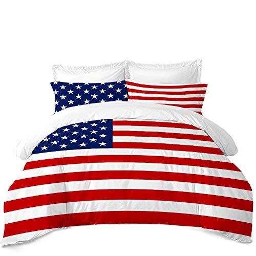 Strisce di stelle bandiera americana Aquila dalla testa biancaBedding – Copripiumino e federa, camera da letto tre pezzi lenzuola bedding(copripiumino + 2 federe) A prova di umidità, ipoallergenico