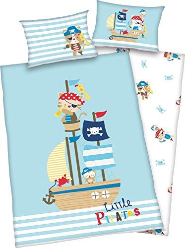 3 piezas. Ropa de cama reversible para bebé, diseño de pequeños piratas, 100 x 135 cm + 40 x 60 cm + 1 sábana bajera de 70 x 140 cm (con sábana blanca)