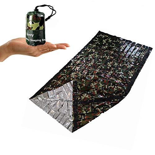 SEALEN Notfallzelt, Rettungsdecke Survival Schlafsack für Erste Hilfe, Warm Outdoor Zelt Camouflage Wärmedämmung Compact Bivy Sack, Wasserdicht leicht Ausrüstung für Camping Wandern Kälteschutz