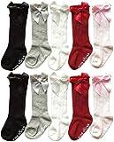 QandSweet Baby Girl Knee-High Socks Toddlers Bow Stockings Newborn Infant Non-Slip Sock (0-12M, Non-skid 5 Pairs)