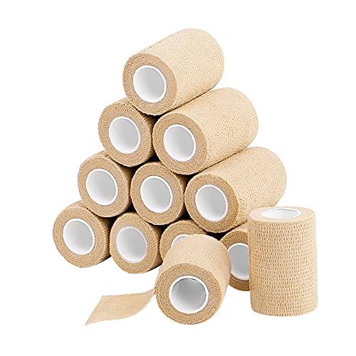 12 Pack Self Adherent Cohesive Wrap Bandages 3 Inches X 5 Yards, Elastic Self Adhesive Tape, Athletic, Sports wrap Tape, Bandage Wrap for Sports, Wrist, Ankle