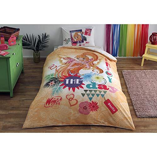 Winx Stella Fairytale Bettwäsche-Set, 100 % Baumwolle, Lizenzprodukt, Bettbezug, Kissenbezug, Spannbetttuch