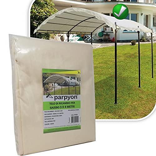 parpyon® Telo Gazebo 3x4 Copertura Ricambio in Tessuto Poliestere 100% - Telo per Gazebo da Giardino Esterno mt 3x3-3x4-3x2 - Vari Modelli Colore Beige arredo Giardino (3X4 Onda)