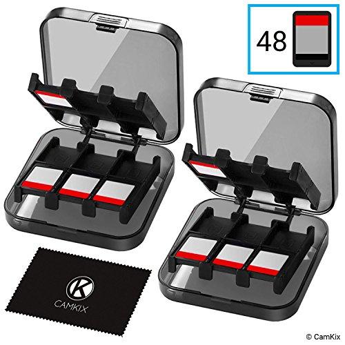 2x CamKix opbergdoos, compatibel met Nintendo Switch games, geschikt voor maximaal 48 Nintendo Switch games, opslagsysteem, speelkaarten-organizer, reisdoos, harde schaal, set met 24 slots