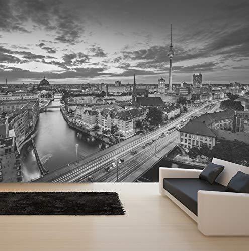 Vlies Tapete XXL Poster Fototapete Berlin Spree Skyline Nacht Farbe schwarz weiß, Größe 100 x 80 cm selbstklebend