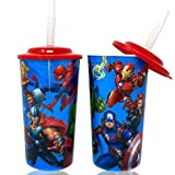 Marvel Superheroes Avengers Water Tumblers with Lid, Reusable Straw Deluxe Gift Set for Kids Boys Girls - Safe Approved BPA Goodies Home Travel