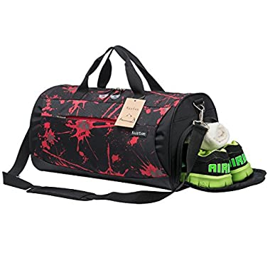 Kuston Sports Gym Bag with Shoes Compartment Travel Duffel Bag for Men and Women (red)