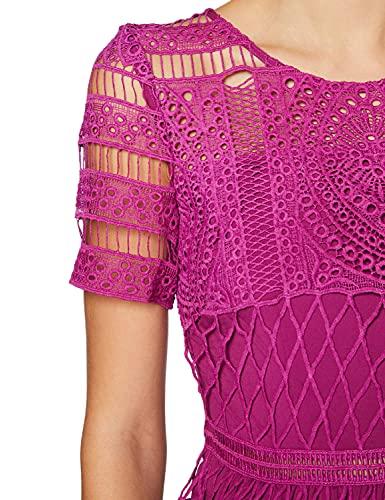 APART Fashion Damen Lace Dress Cocktailkleid, Berry, 46