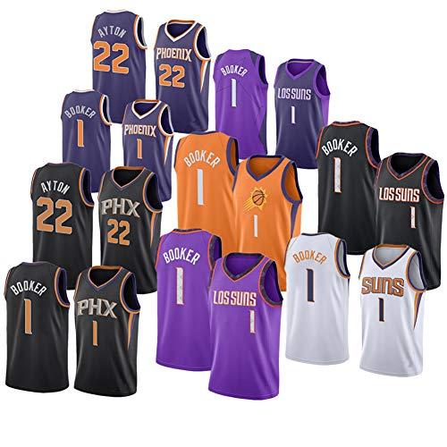 Suns 1# Booker, Herren Basketball-Trikot All Star Erwachsene Jungen Outdoor ärmellos bestickt Shirt Classic Running Sport Weste 2019/20 Neu (1 Pack) Gr. S, F