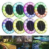 Litake Solar Bodenleuchten Aussen,12LED Solarleuchte 7 Farbwechsel IP65 Wasserdicht Gartenleuchten für Außen Solarlampen Garten Gehweg Deck Weg Rasen Auffahrt,8 Stück