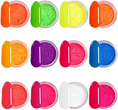 12 Boxes Pigment Nail Powder 2021 Colorful Fluorescent Color Nail Pigments Dust Nail Glitter product image