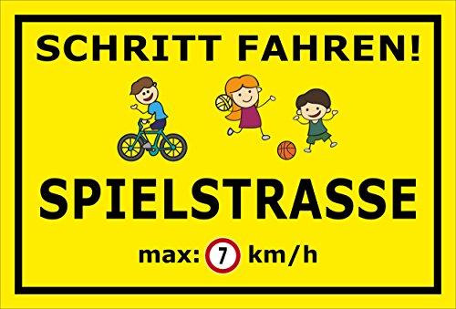 Melis Folienwerkstatt Schild - Spiel-Strasse - 45x30cm | 3mm Hartschaum - S00040-016-C - 20 Varianten