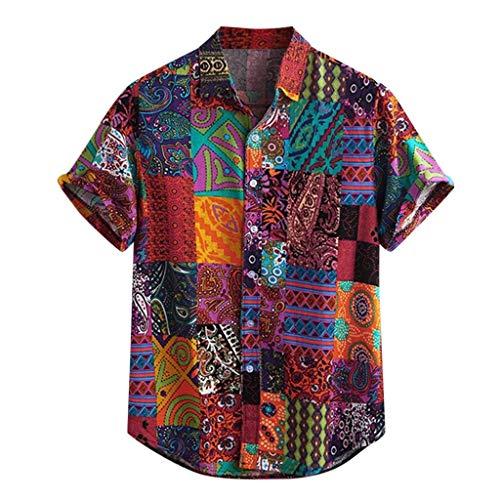 Vintage Shirts Men's Hawaiian Colorful Printing Turn Down Collar Loose Breathable Short Sleeve Tops...