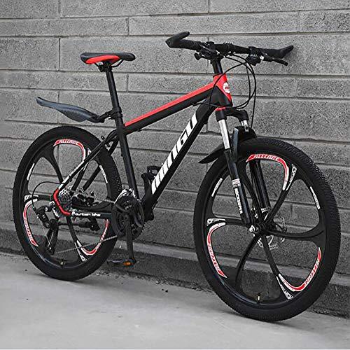 WLKQ Pieghevole Mountain Bike, MTB, Bici Biammortizzata, 26 velocità Doppia Sospensione Biciclette, Telaio in Acciaio ad Alto Tenore di Carbonio Mountainbike, Adulti Bike,Black Red 6 Spoke,30 Speed