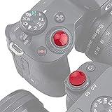 PROfezzion Botón de Liberación de Tipo No-roscado para Cámara Panasonic Lumix LX100II LX100 ZS200 ZS100 ZS70 ZS60 ZS50 con Plano Botón de Obturador (Convexa y Cóncava Kit Rojo Oscurode)