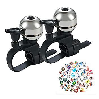 YIWINIAID Bike Bell 2 Pieces Bicycle Bells 360 Degree Rotation Adjustable Long Crisp Melodious Sound Bike Bell for Adult Kids Fits Handlebars 16-38 mm Silver
