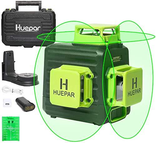 Huepar B03CG 3X360 Nivel Láser Verde 12 Líneas, MODO DE PULSO, Batería de Litio Recargable USB, Autonivelante Líneas Cruzado, 360 Líneas Vertical/Horizontal Conmutables, Base Magnético+Bolsa Portátil