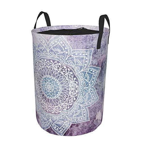 Faltbarer großer Wäschekorb, rund, Aufbewahrungskörbe, Kordelzug, wasserdicht, Wäschekorb, Kinderspielzeug, Organizer, Mülleimer – tiefviolettes Mandala