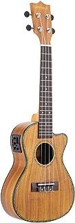 ammoon Cutaway Ukulele Hawaii Guitar with LED EQ Koa Plywood Cowry Shell Brims OX Bone Saddle 4 Strings Instrument Gift Present