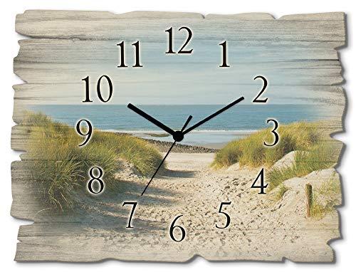 Artland Wanduhr ohne Tickgeräusche aus Holz Funkuhr 40x30 cm Rechteckig Lautlos Strand Meer Düne Nordsee Landschaft Maritim T9EX