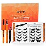 Magic Eyeliner and Eyelashes Kit, Upgraded 10 Pairs Portable Reusable False Lashes, Non Magnetic Eyelashes Set, No Glue, Waterproof