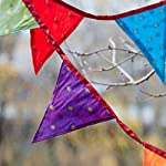Fair Trade Recycled Sari Fabric Bunting - 2.45m - 10 Flags - Garland for Garden Wedding Birthday Indoor Outdoor Party…