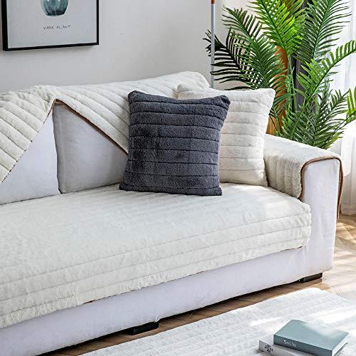 Suuki Sofa überzüge,Couch Auflage,Couch überwurf,Imitiertes Kaninchenfell-Sofakissen,Schnittsofa-Schonbezug,Rutschfester Plüsch-Sofabezug,Schonbezug für H&eh&e,Warmer Sofaschutz-Beige_90 * 160 cm