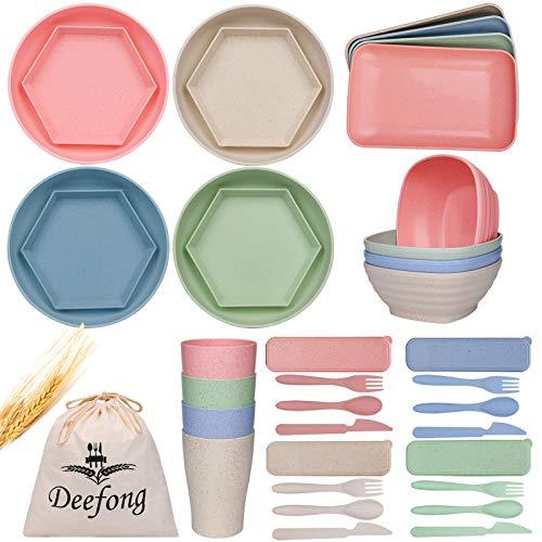 Deefong Dee Wheat Straw Plates Set,Lightweight Dinnerware Set,Degradable Dinner Plates,Bowls,Cups Set,24 PACK Dishwasher & Microwave Safe,Unbreakable Salad Plates