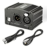EBXYA 48V Phantom Power Supply with USB Cable, XLR to 3.5mm Cable (6 feet) for Condenser Microphone Music Recording Equipment