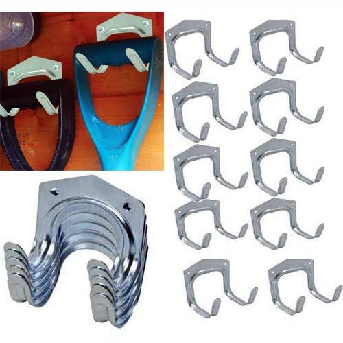 10 x Tool Hanger Hooks Set Tools Hang Garage Shed Hanging Bracket Garden Storage