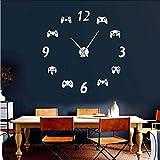 Controladores de Videojuegos DIY Reloj de Pared Grande Juego de Sala Decoración de diseño Moderno Freamless Reloj de Pared Gigante Juego Niños Sala Reloj de Pared